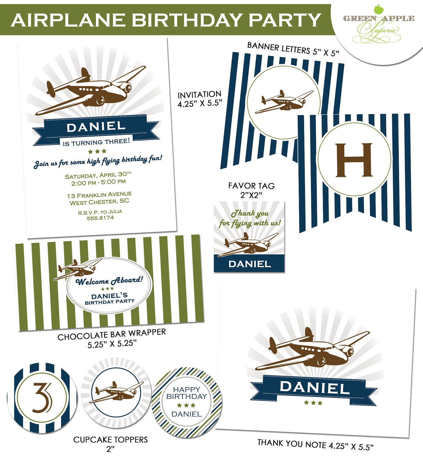 Printable Vintage Airplane Party Collection Diy By: Vintage Airplane Birthday Party Invitation