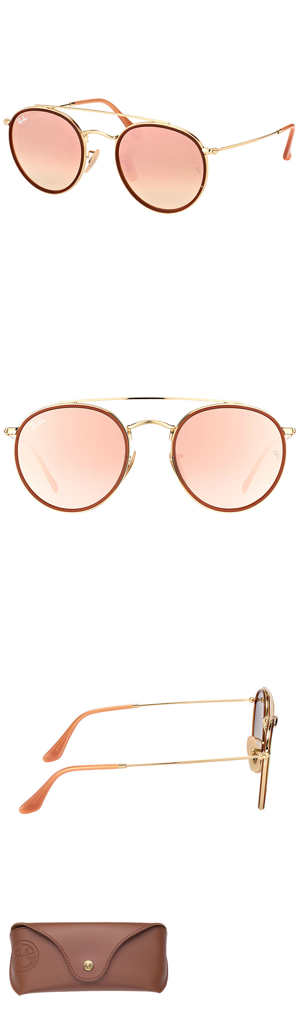 f040377b50 Sunglasses 155189  Ray-Ban Rb3647n 001 7O Round Double Bridge Gold Red  Sunglasses Pink Mirror Lens -  BUY IT NOW ONLY   129.95 on eBay!