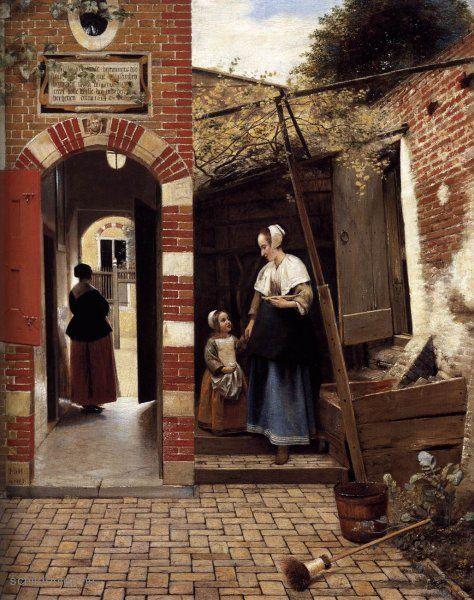 """Painting """"De binnenplaats van een huis in Delft"""" by Pieter de Hooch - www.schilderijen.nu"""