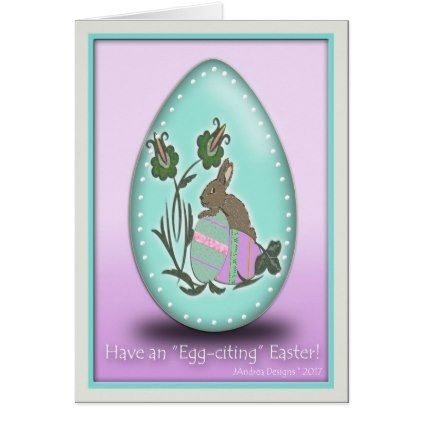 #customize - #9EE6DB Easter Egg-Rabbit & 2 Eggs Card
