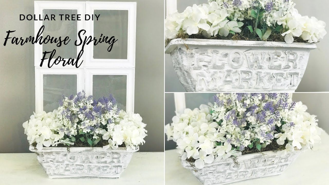 Dollar Tree Diy Farmhouse Spring Floral Decor Youtube Dollar