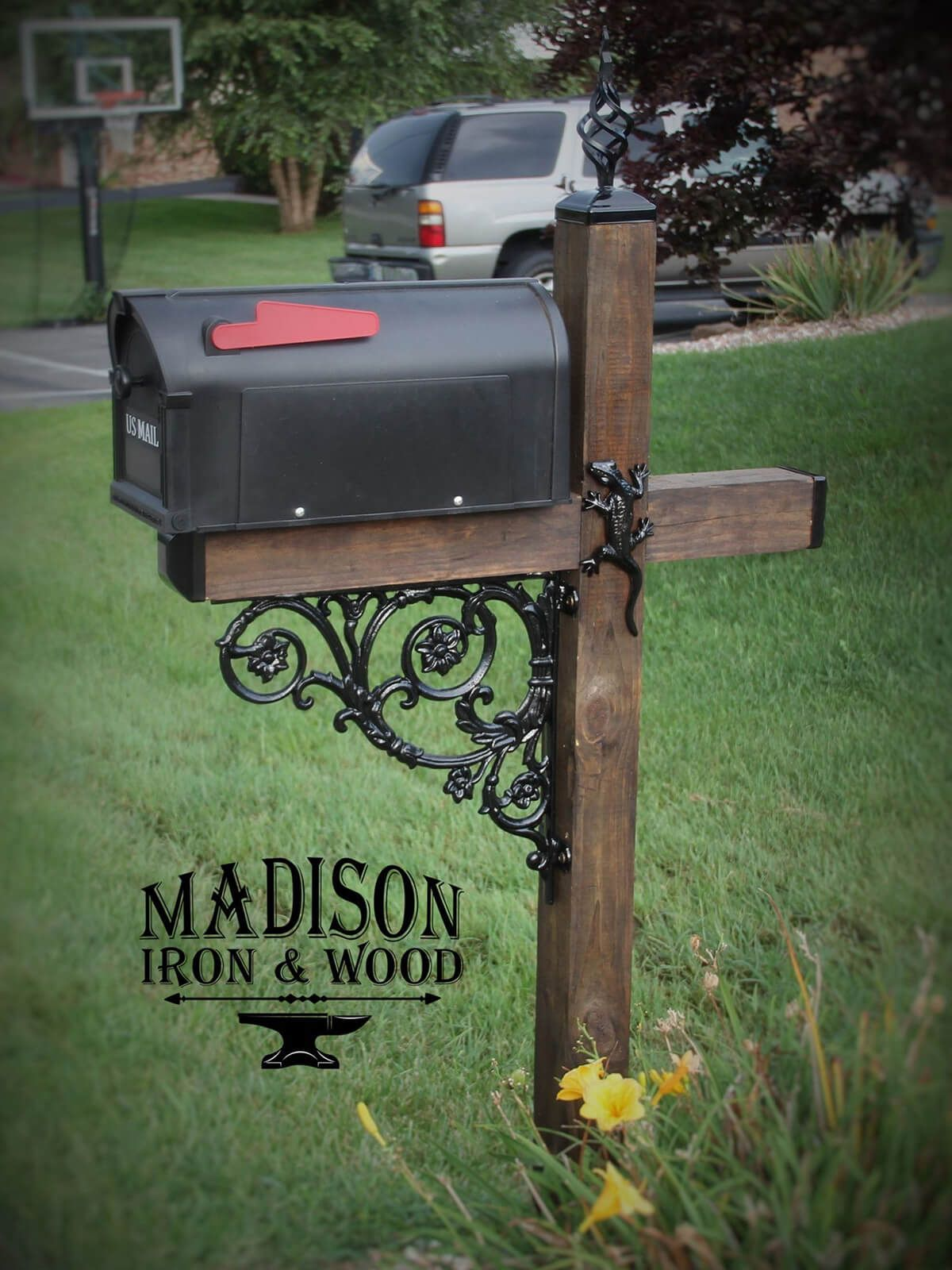 29 Adorable Mailbox Ideas That Will Give Your Guests A Fantastic First Impression Wrought Iron Mailbox Mailbox Decor Rustic Mailboxes