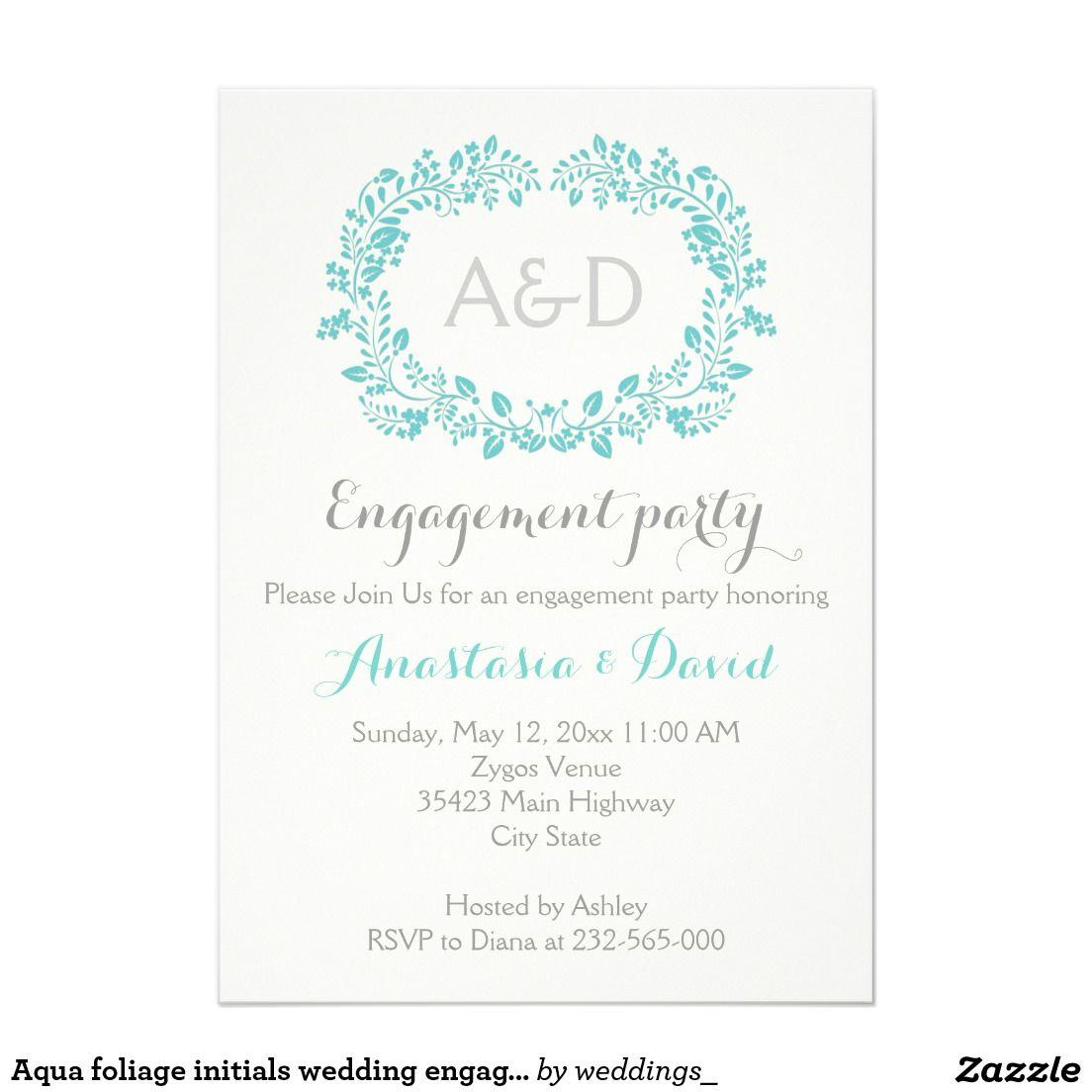 Aqua foliage initials wedding engagement party card | Wedding ...