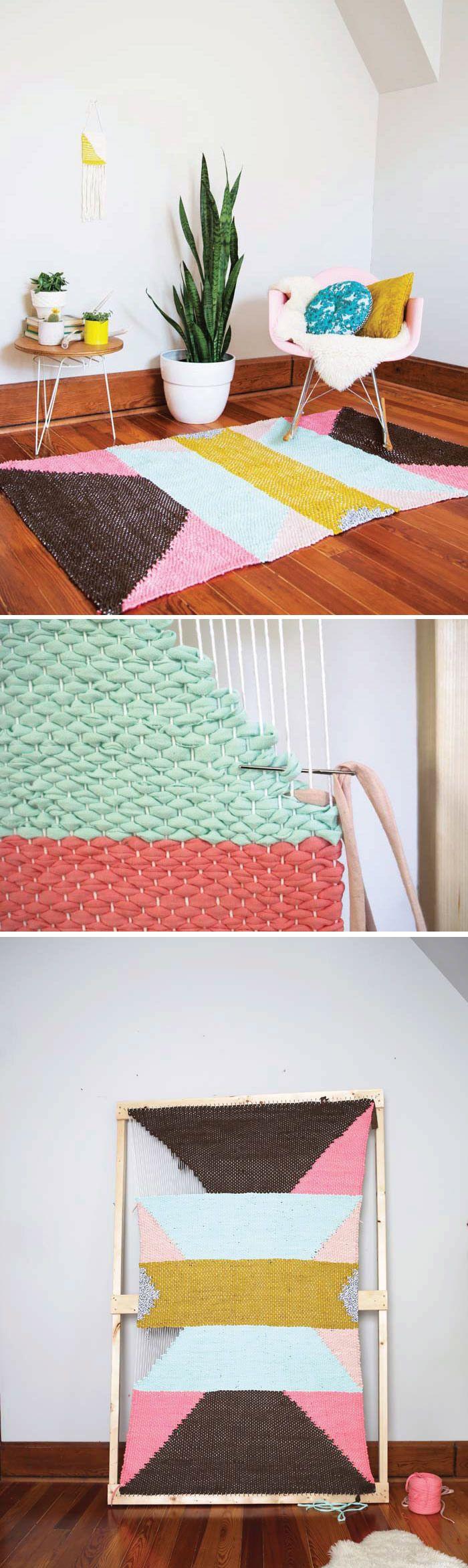 Fabric Rug Diy Weave A T Shirt Rug With Easy Diy Loom Rug Loom Fabric Rug And