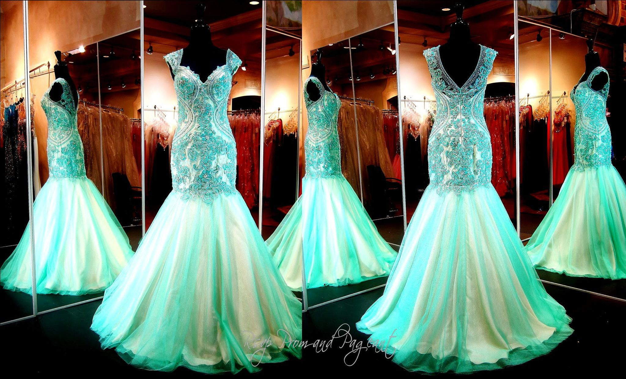 Seafoam Mermaid Prom or Pageant Dress-Cap Sleeves | Pageants, Prom ...