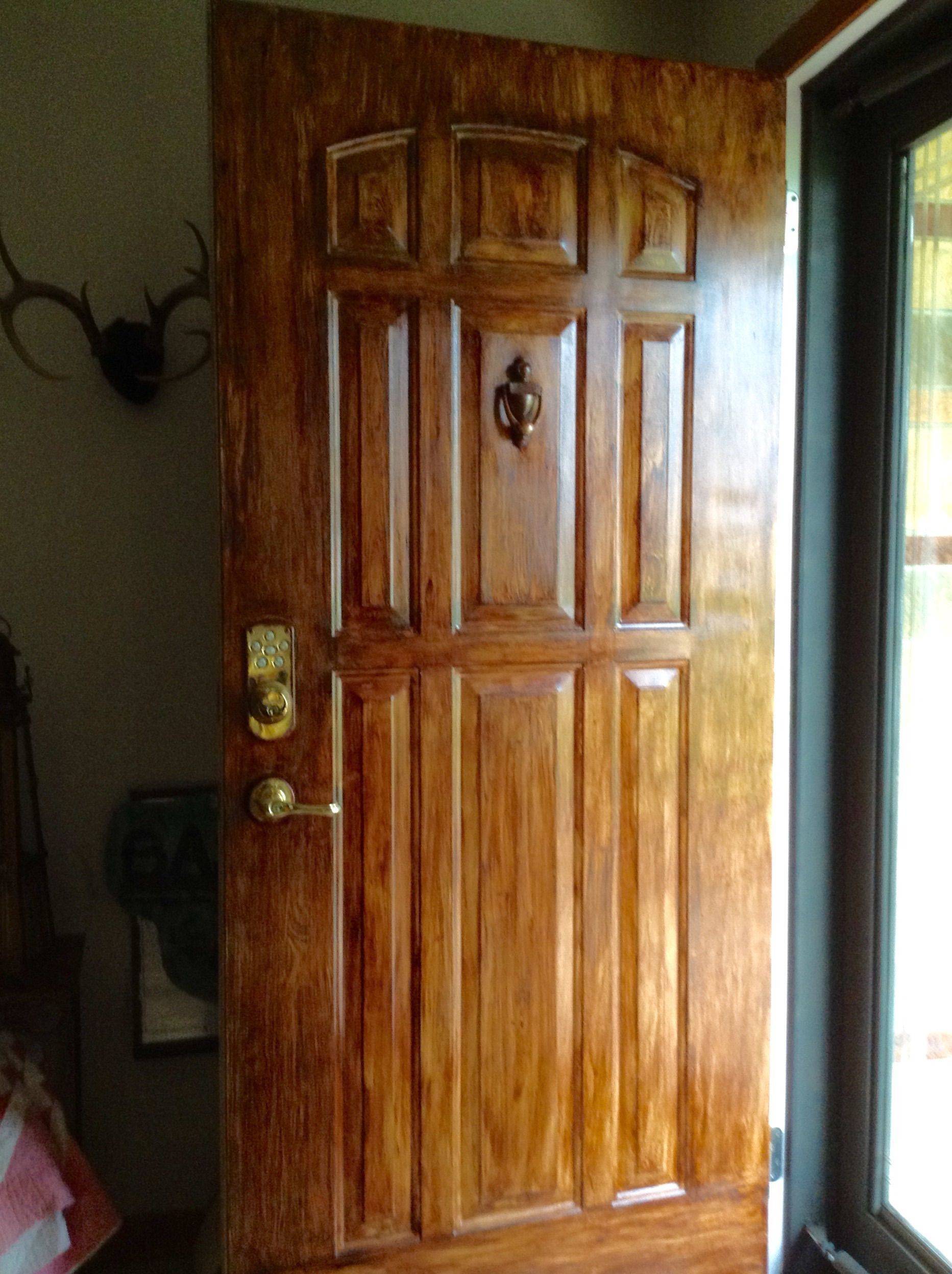 Gel Stained White Metal Door With Minwax Gel Stain Mahogany As It
