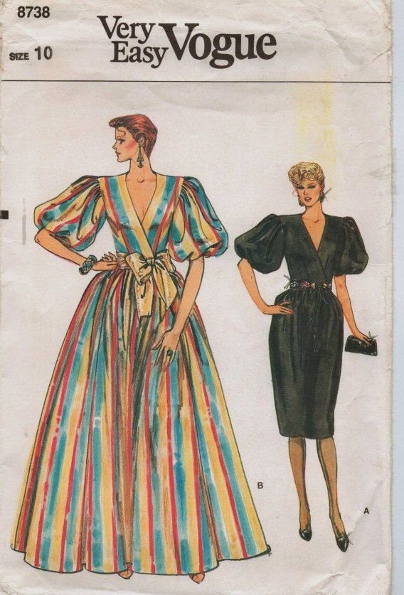 80s Very Easy Vogue Pattern 8738 Womens Wedding Or By Cloescloset