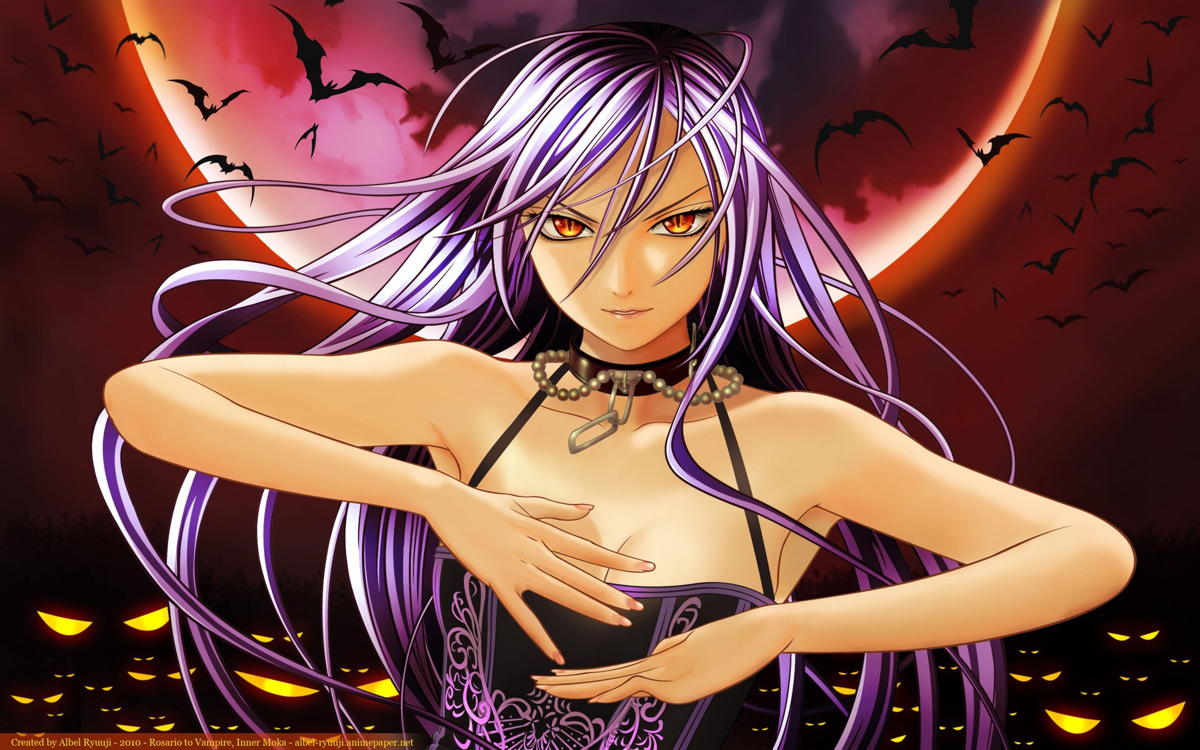 Hentai Vampire Girl pertaining to 3840x2400 wallpaper rosario vampire, girl, bat, moon | wallpapers