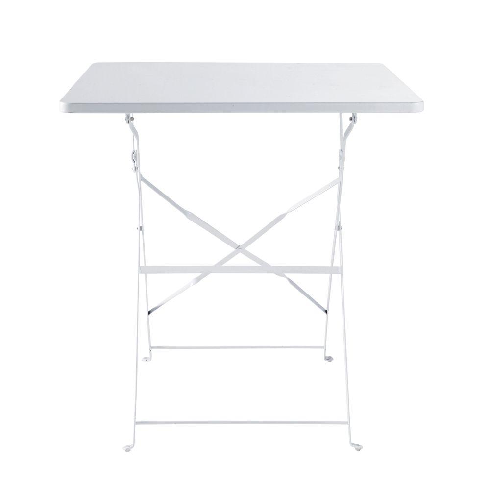 Table de jardin pliante en métal blanc 2 personnes L70 | Cuisine ...
