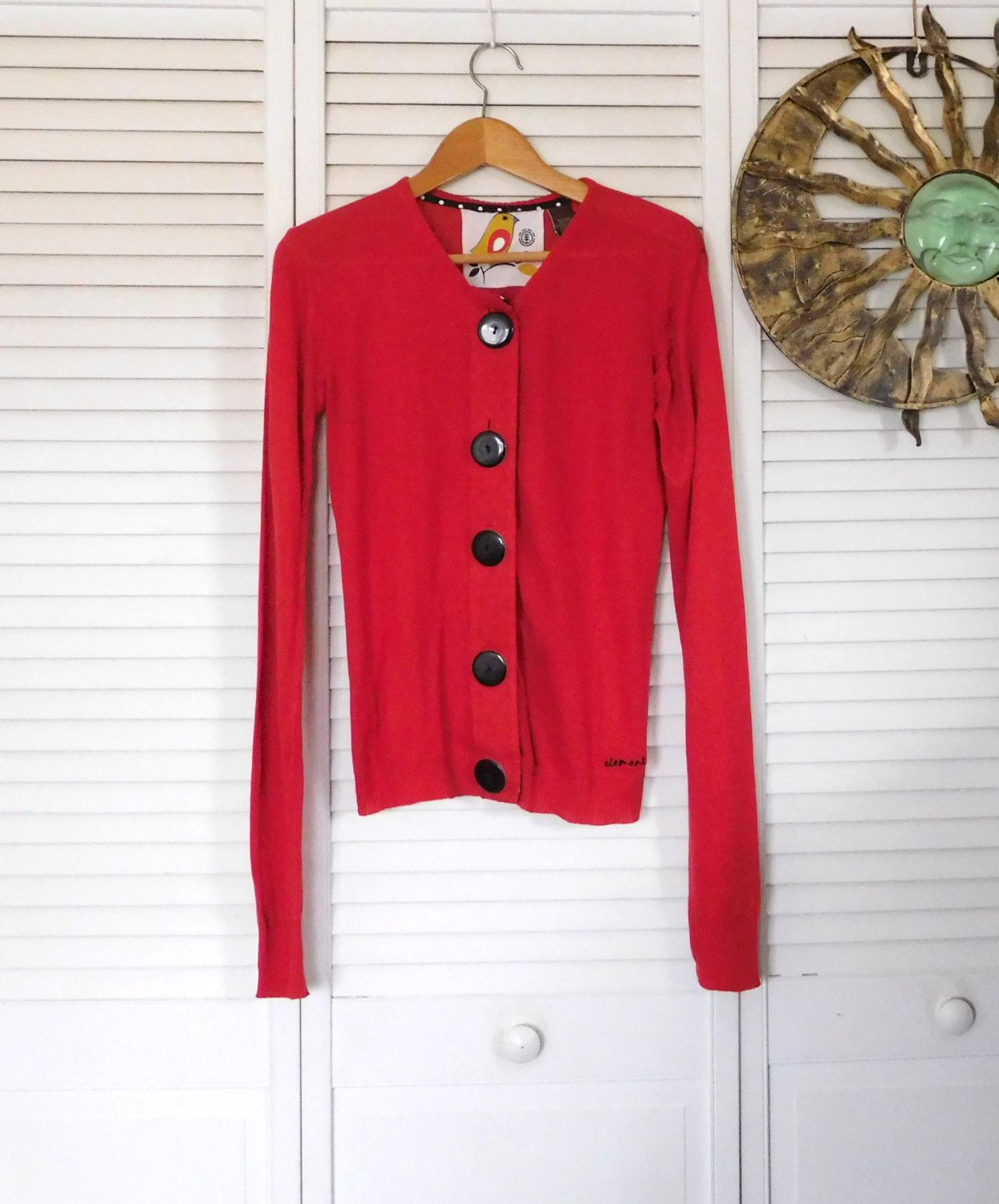 90s Sweater Red Button Down Long Sleeves Large Buttons Retro ...