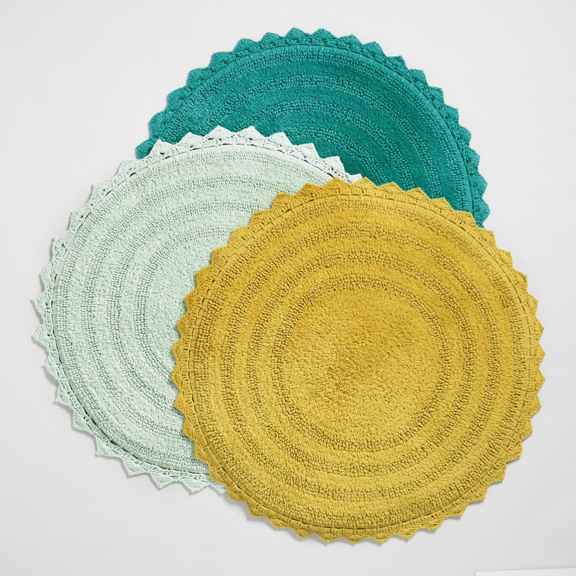 Finished With A Crocheted Border Our Exclusive Cotton Bath Mat Is