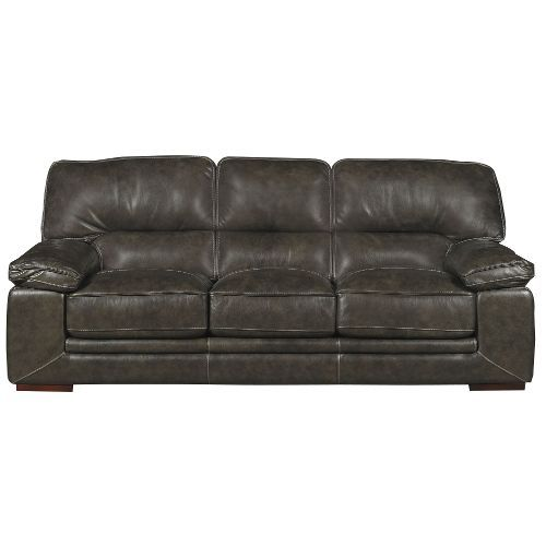 Casual Contemporary Graphite Grey Leather Sofa   Sanibel