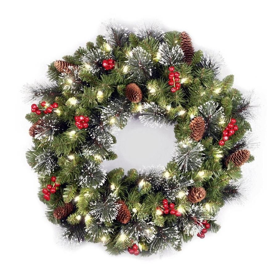 National Tree Company 24 In Pre Lit Outdoor Battery Operated Green Spruce Artificial Christmas Wreath With White Warm Led Lights Lowes Com Artificial Christmas Wreaths Pre Lit Christmas Wreaths Christmas Wreaths With Lights
