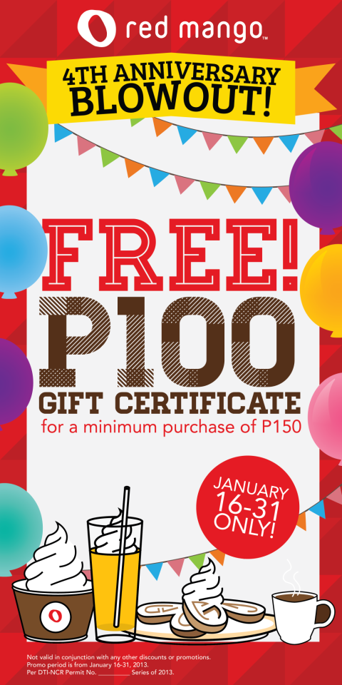 Red Mango Free P100 Gift Certificates For A Minimum Purchase Of
