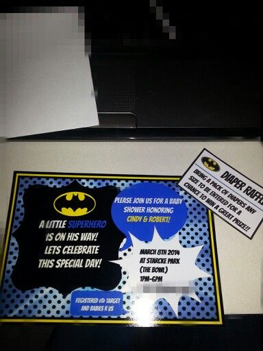 batman baby shower invitations and diaper raffle tickets i made used