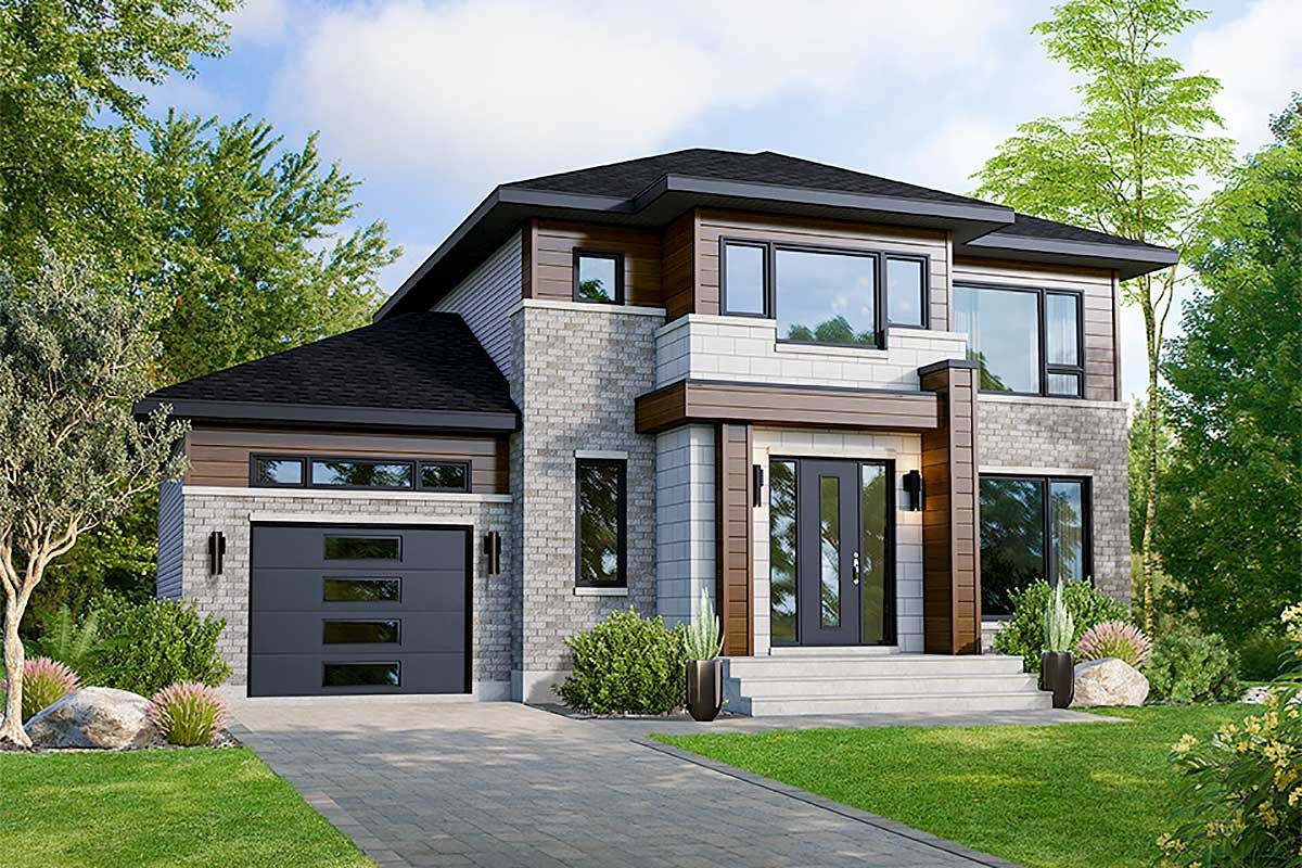 Plan 80918pm Prominent 3 Bed Modern House Plan In 2021 Modern House Plan Contemporary House Exterior Contemporary House Plans
