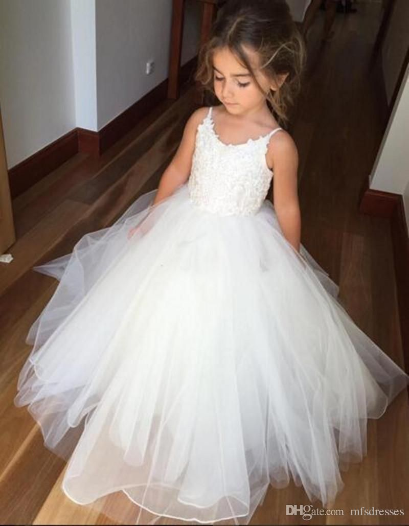 df72c4d97e3 Lovely White Flower Girl Dresses Puffy Tulle First Communion Dress For Girls  Spaghetti For Wedding Formal Party Gowns Flower Girls Dress Flower Girl  Dresses ...