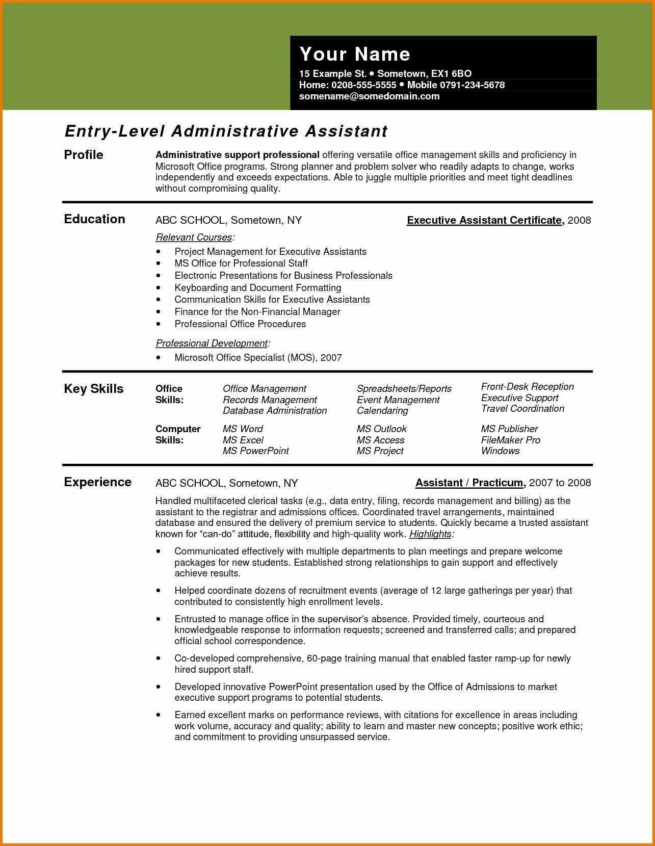 Administrative Assistant Resume Objective No Experience