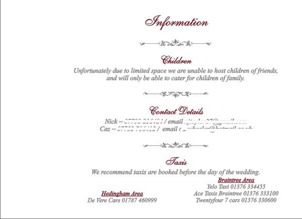 Brambles Wedding Stationery Booklet Pages Guest