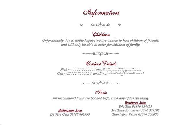 What Information To Put On A Wedding Invitation: Brambles Wedding Stationery