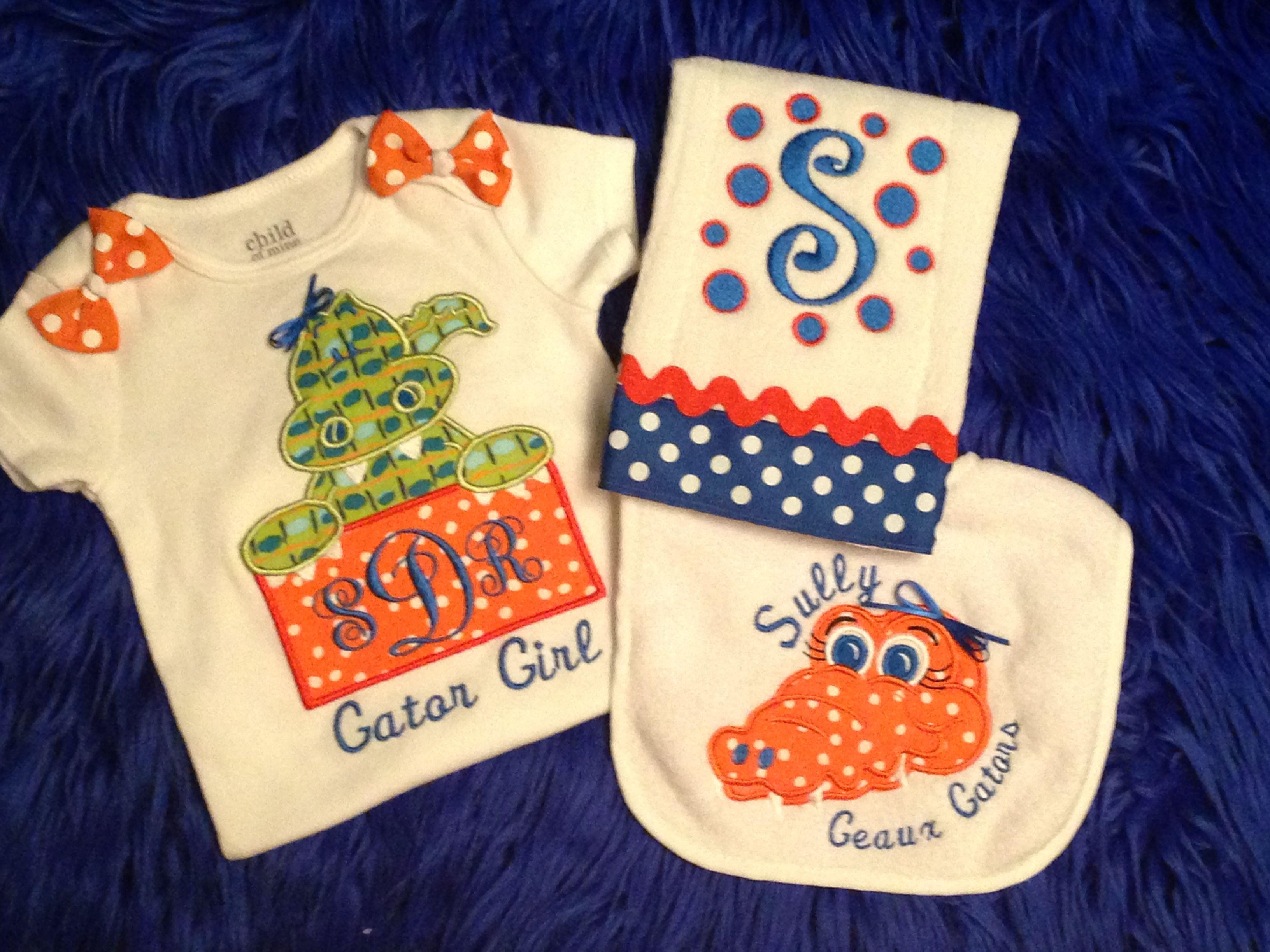 Florida Gators Onesie Bib & Burp Cloth Set Order