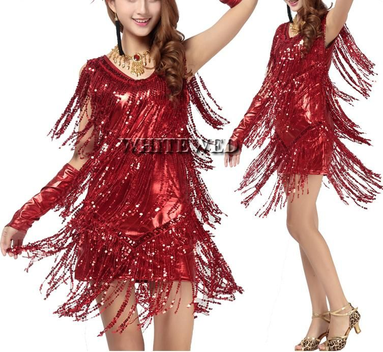 06a9f139cf36 2016 Women Fringe Tassel Latin Ballroom Salsa Cha Cha Samba Rumba Jive  Dancewear Competition Fancy Dress Costumes For Sale V…