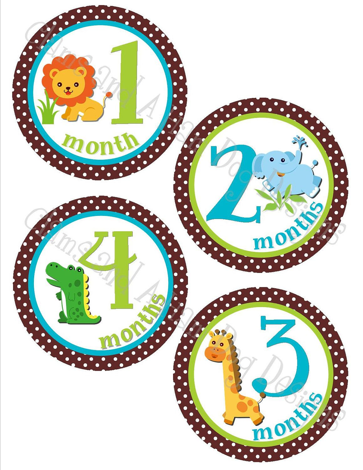 18 Month Stickers: Monthly Onesie Stickers- Boys Jungle Animals On Brown