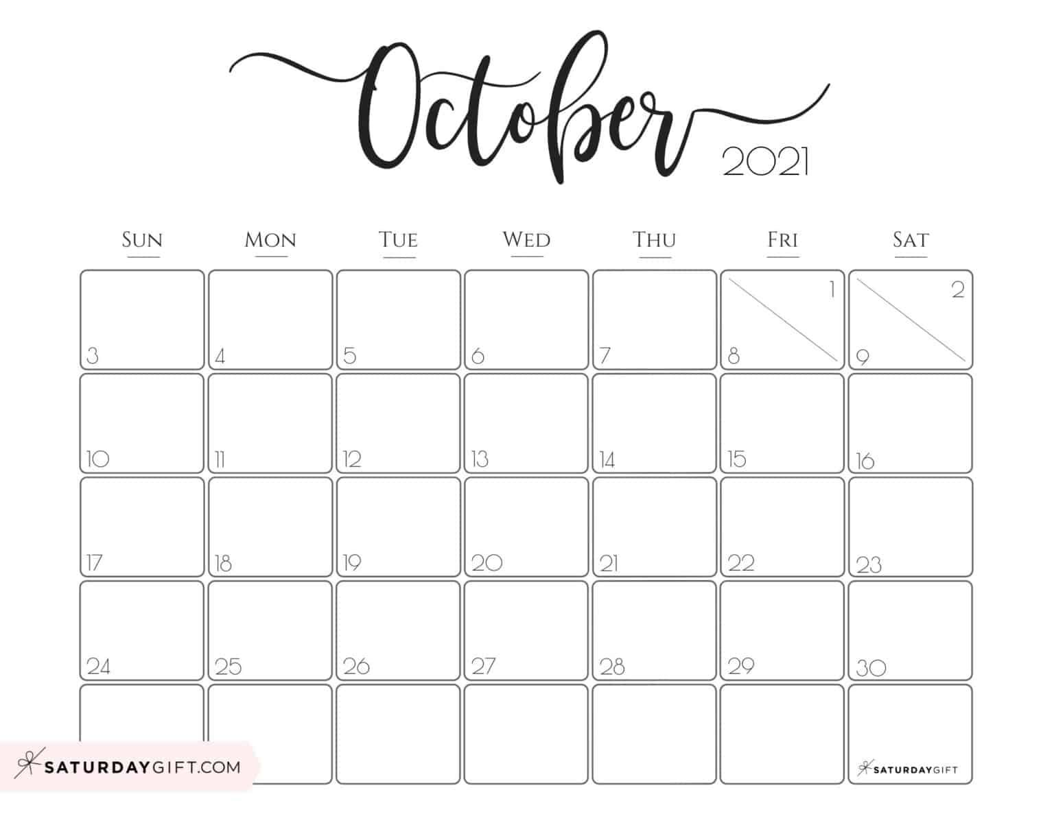 Blank October Calendar 2021 Elegant 2021 Calendar by SaturdayGift   Pretty Printable Monthly