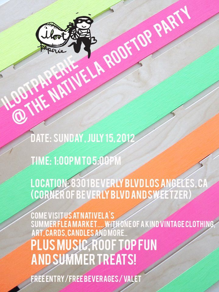 come play! this sunday the 15th - free entry / free beverages / art / clothing / cards / music / roof top fun with your favorite bandits and the gals form native la!