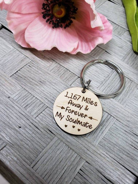 Miles away and forever my soul mate keychain long distance custom personalize boyfriend  Miles away and forever my soul mate keychain long distance custom personalize boy...