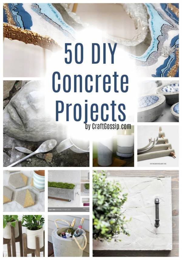Check out all the awesome things you can do with concrete! These are all DIY projects that are fun to make. #craft #diy #cement #concrete #homedecor #decorations #concreteprojects #concretedecorations #craftgossip