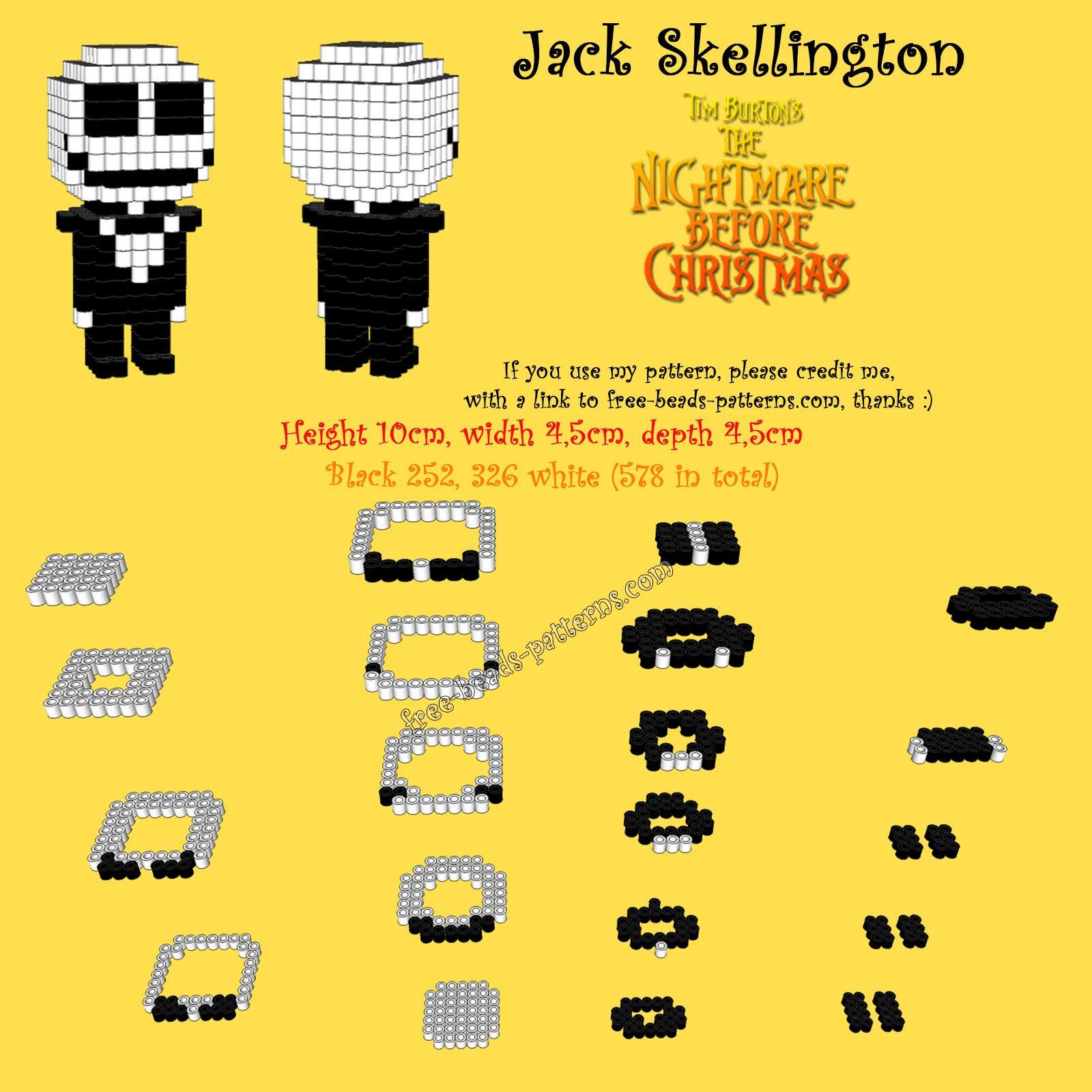 Nightmare Before Christmas Jack Skellington 3D Hama Beads Perler ...