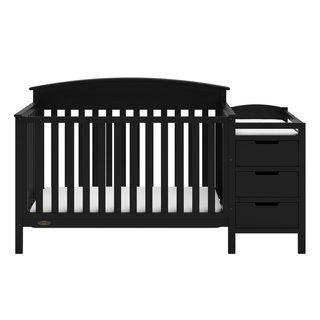 Graco Benton 4 In 1 Convertible Crib And Changer Attached Changing Table With Water Resistant Changing Pad Espresso Finish Espresso Brown Convertible Crib Cribs Headboards For Beds