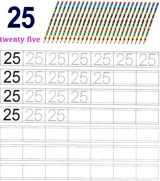 Worksheet on Number 25 | Matematika Taman Kanak-kanak | Pinterest ...