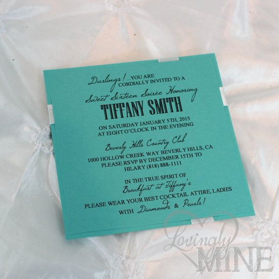 sweet sixteen invitations in light teal and white set of 10 brunch