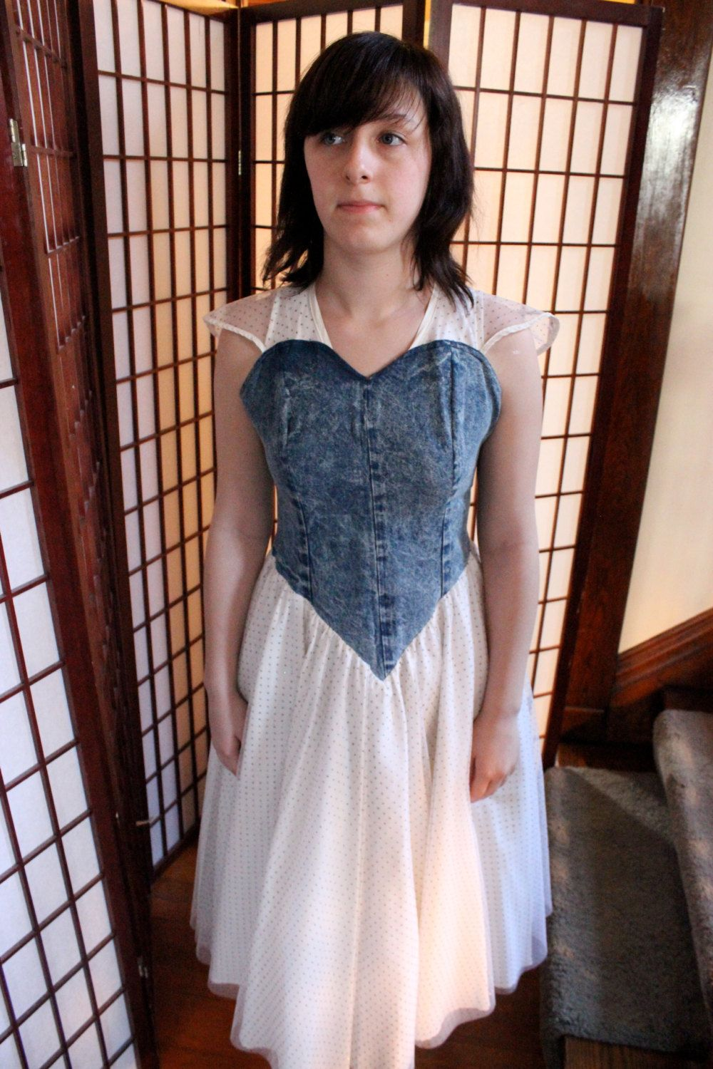 The worst prom dress ever acid wash denim and glitter toole if