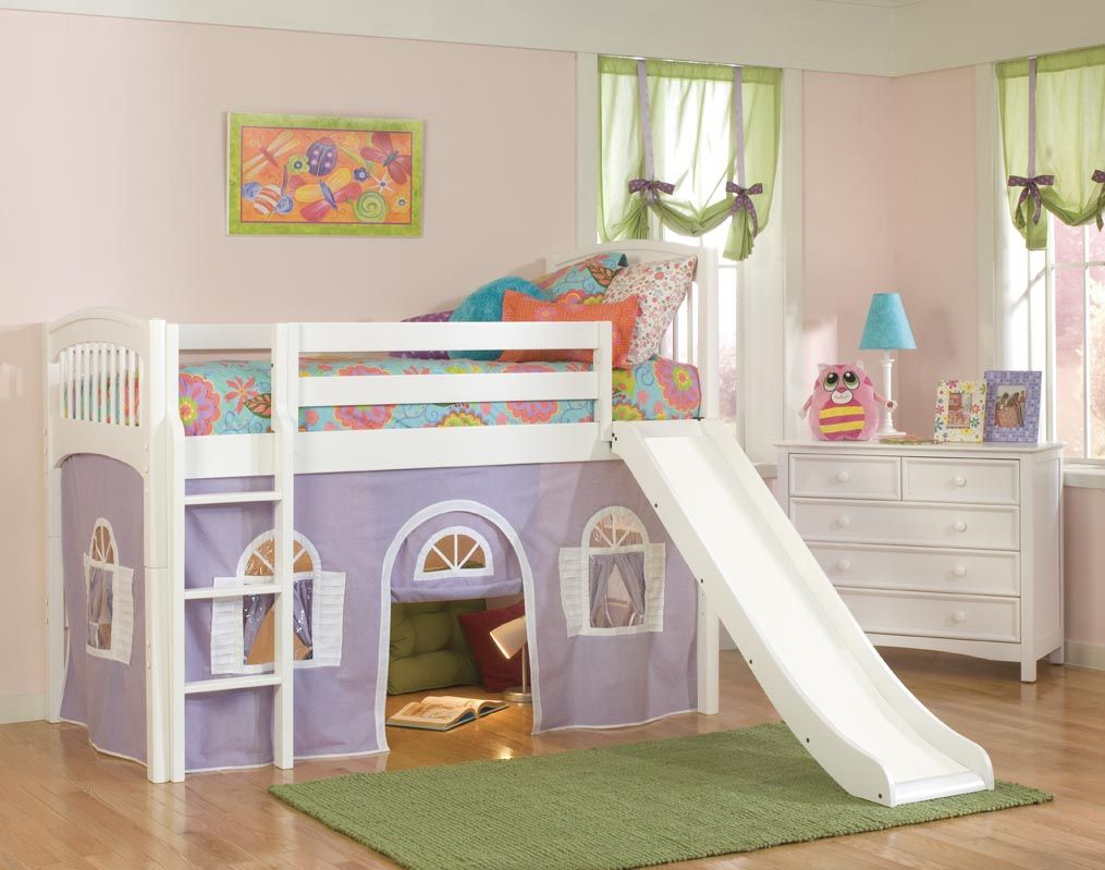 Cool Kids Loft Beds For Boys And Girls Rooms : Lovely White Frame Girls  Loft Bed