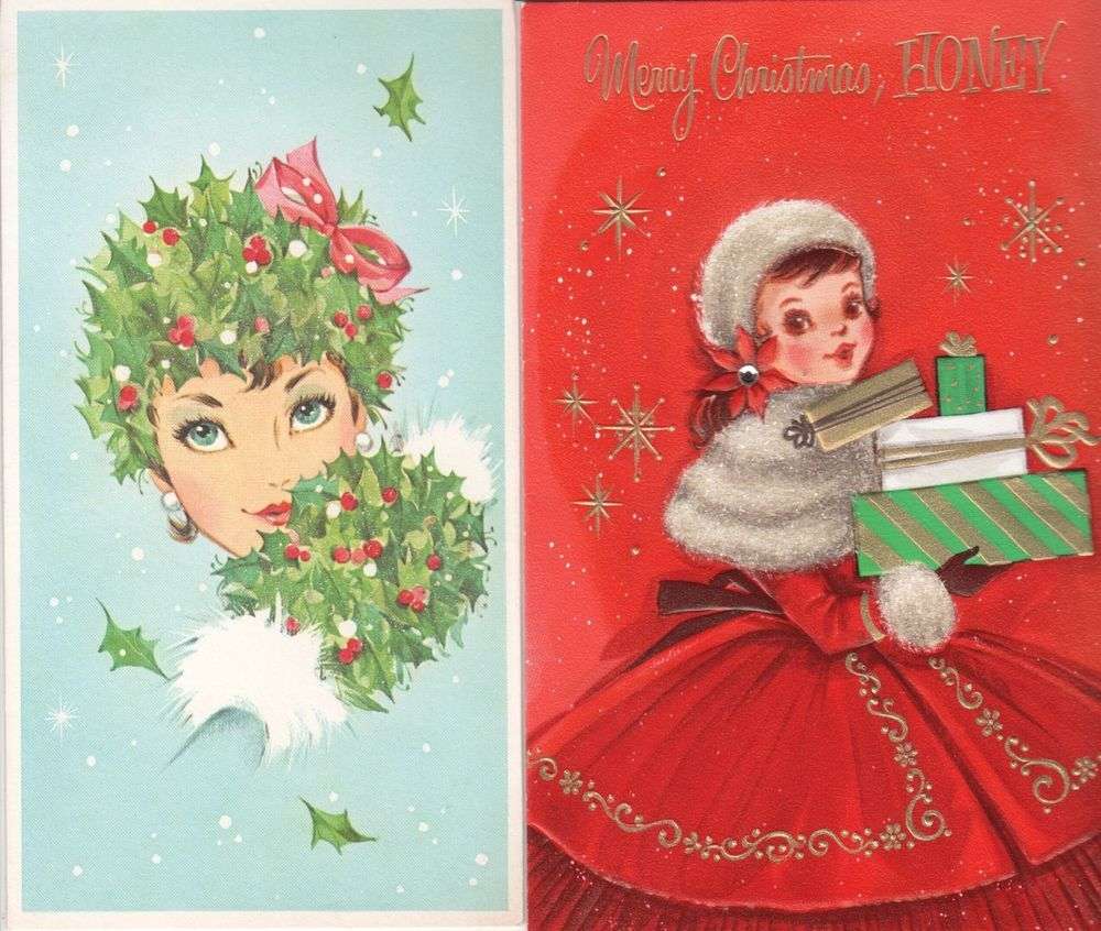 25 Vintage Christmas Girl Lady Family Greeting Cards Norcross 1960s
