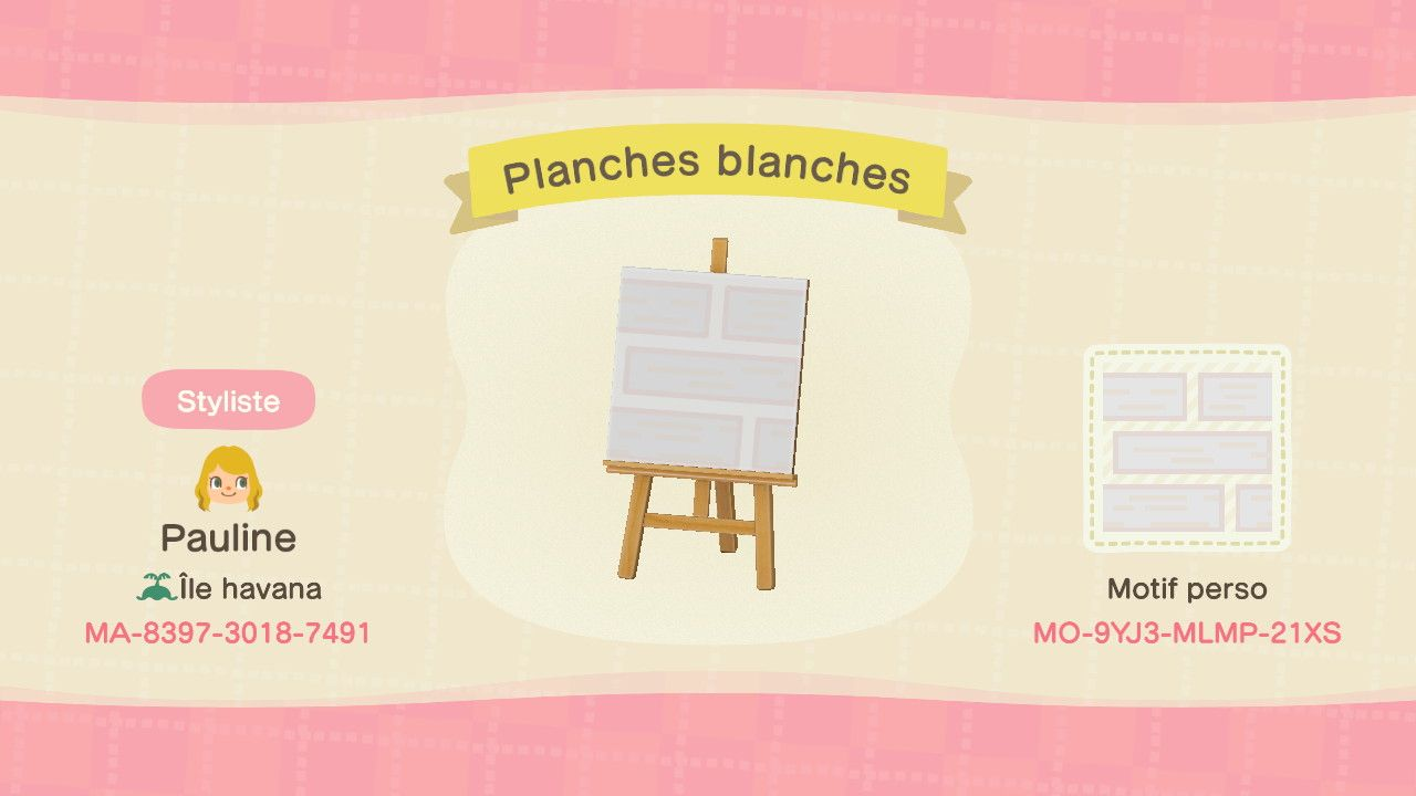 ACNH - Motif planches blanches  Animal crossing astuce