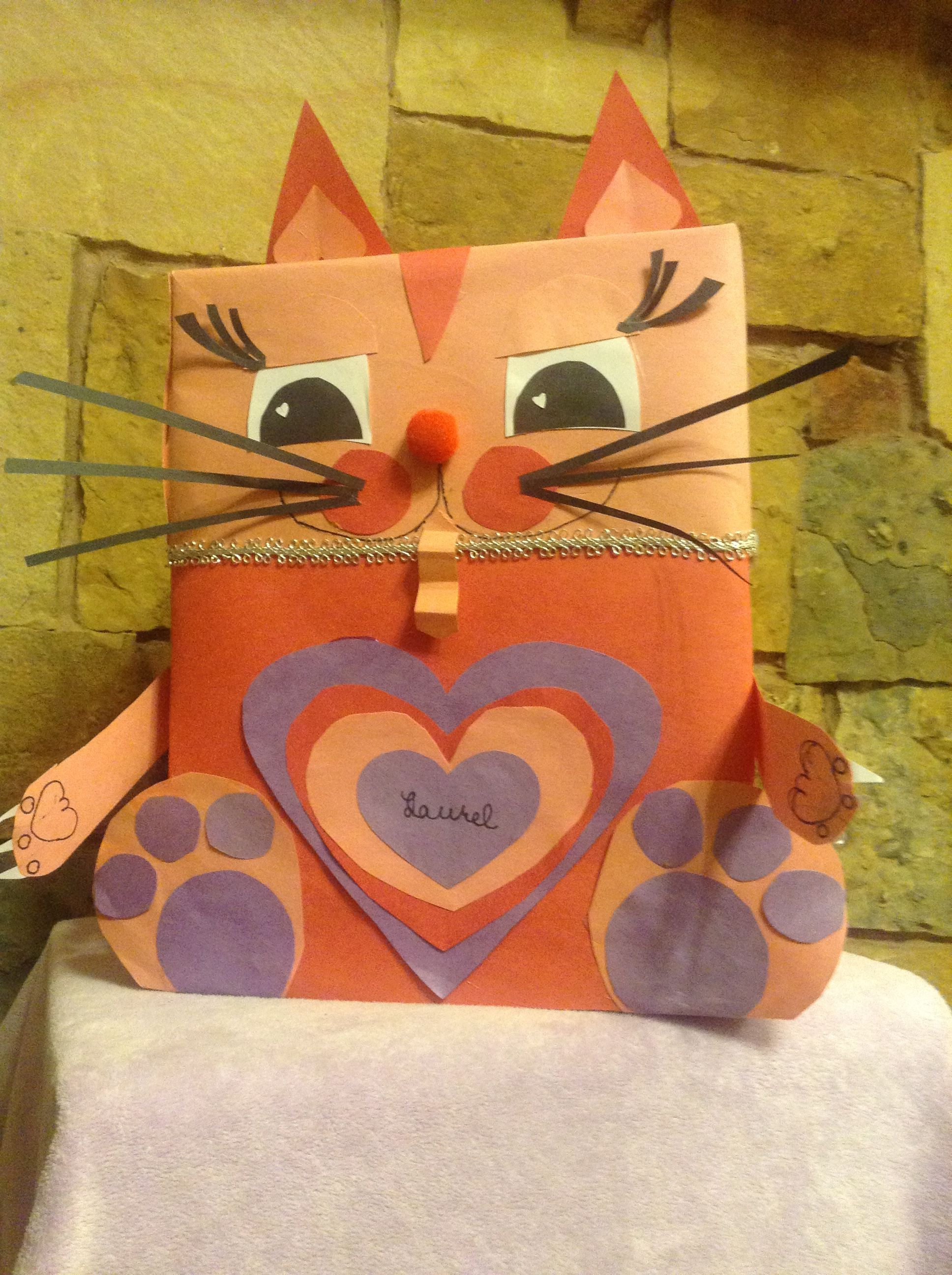 cat valentine box made from construction paper  art crafts