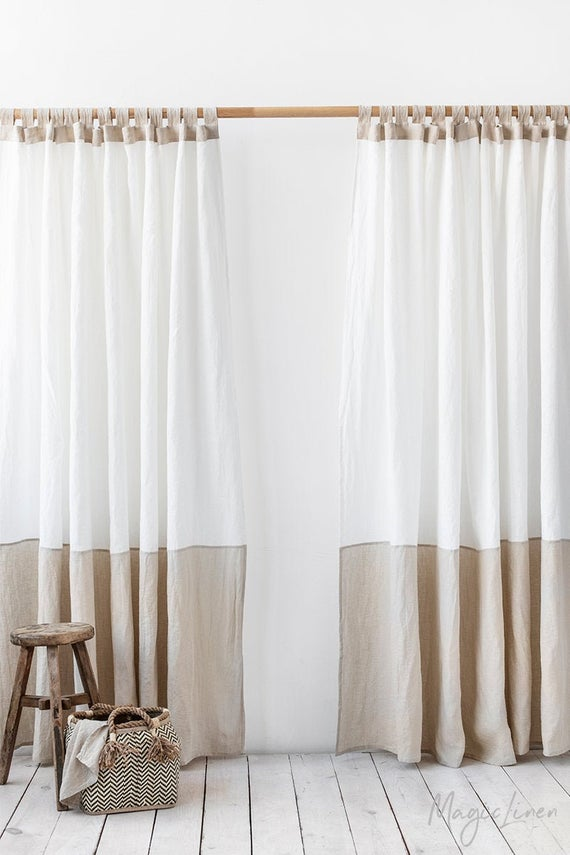 Tab Top Linen Curtain Panel In Two Colors Colour Block Window Or