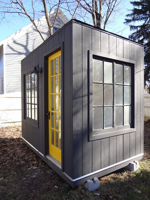 I love this idea for a wood shop for my husband magnify for Outside office shed