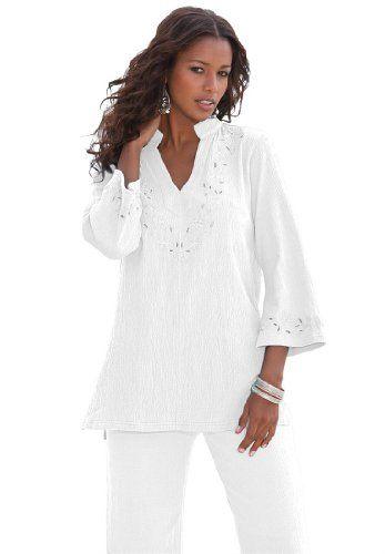 0b9b934513cb9 Roamans Women s Plus Size Crinkle Knit Gauze Tunic (White