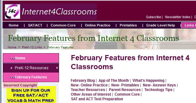 February Features from Internet 4 Classrooms.   February ...