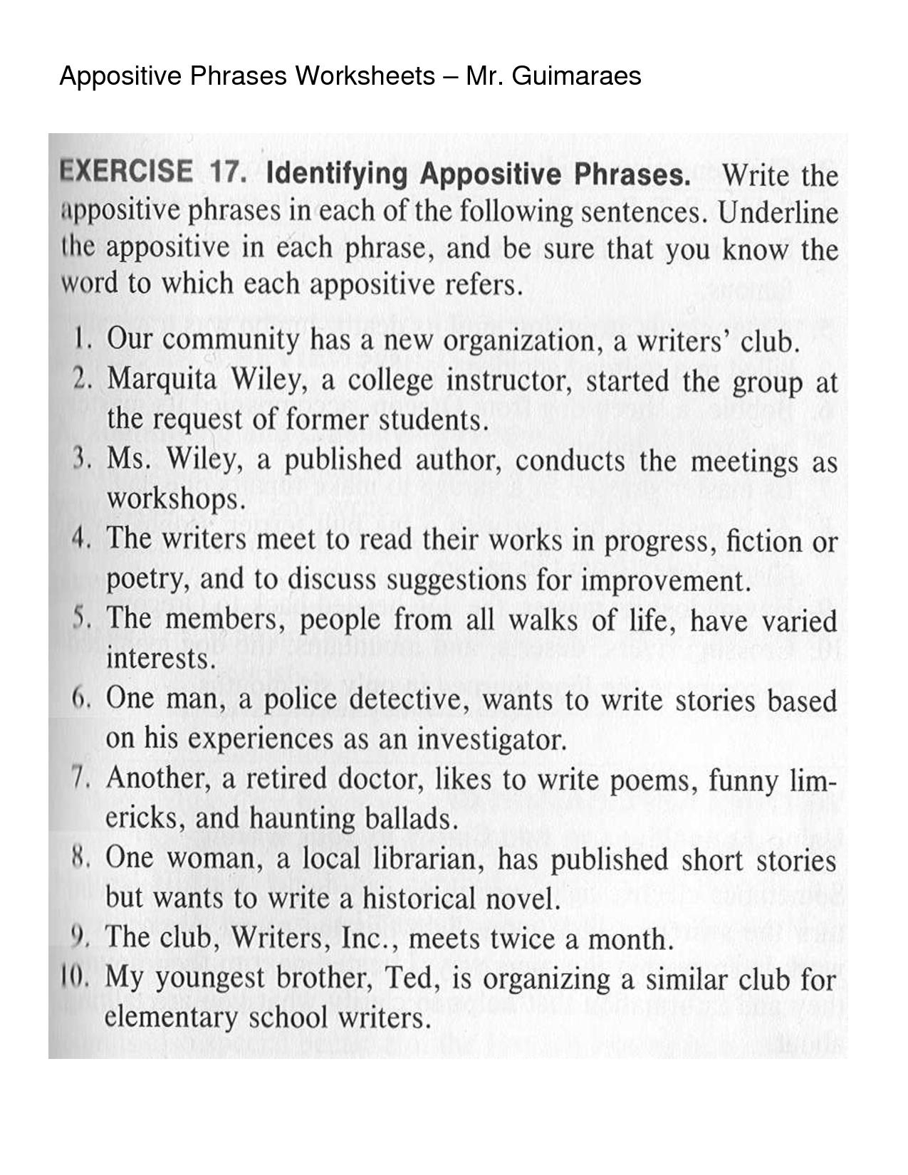 Appositive Sentences Worksheets