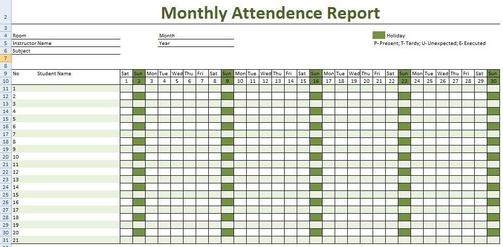 student attendance sheet in excel