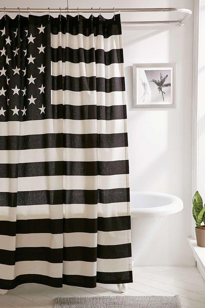 Black White American Flag Shower Curtain