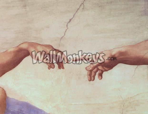 Removable wallpaper.    Hands of God and Adam, Detail from the Creation of Adam, from the Sistine Ceiling, 1511 / Michelangelo Buonarroti