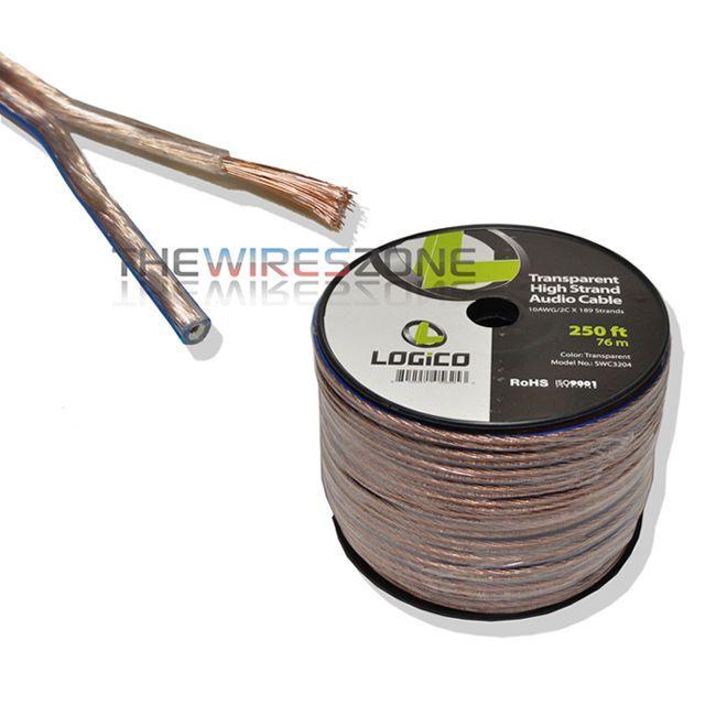 Clear 10 Gauge 2 Conductors 250 Ft Car Home Audio Speaker Wire Cable 250 10awg Speaker Wire Home Audio Speakers Audio Speakers