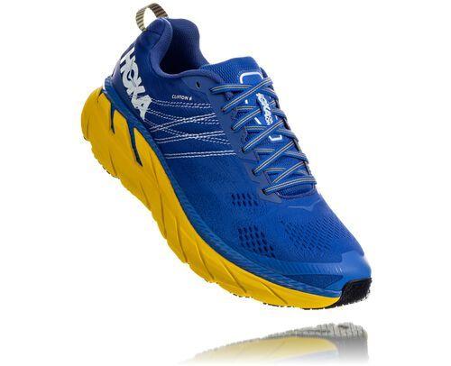 HOKA Men's Clifton 6 Road Running Shoes in Nebulas Blue/Lemon, Size 7.5 #rockermode